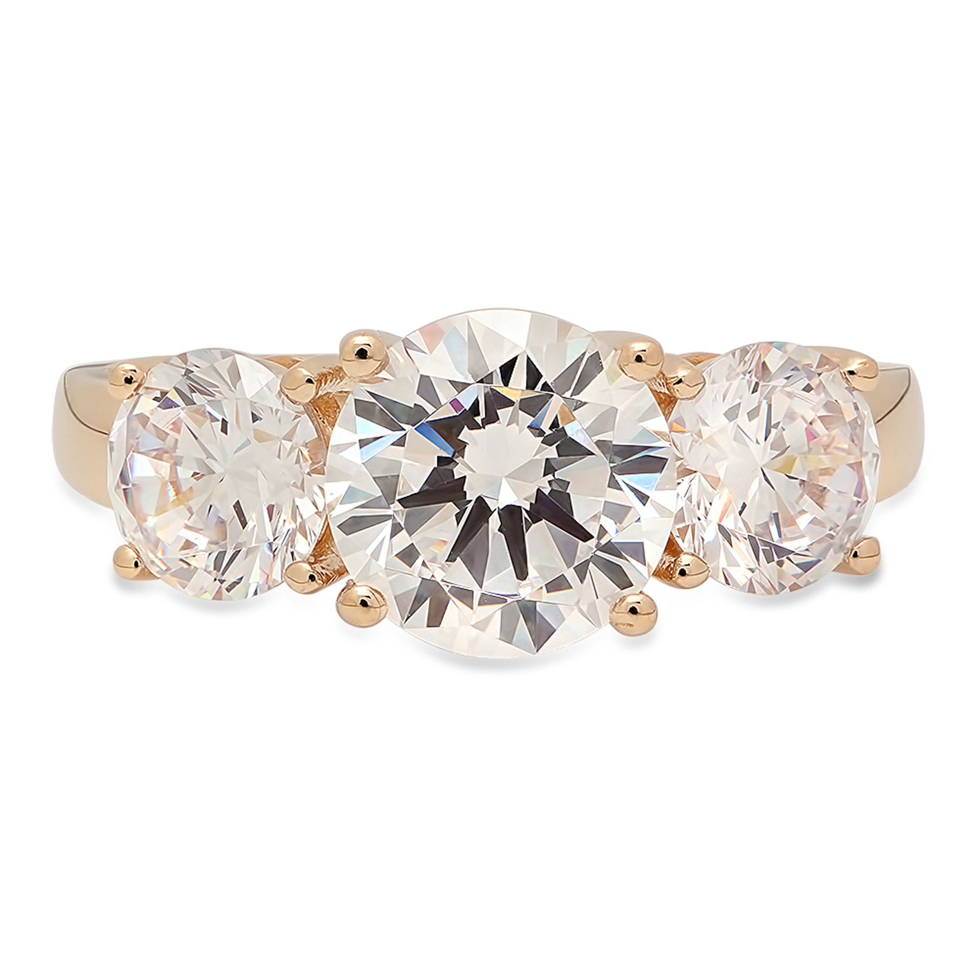 Clara Pucci 3.35 CT Brilliant Round Cut CZ Designer Solitaire 3-Stone Band Ring Solid 14K Yellow Gold