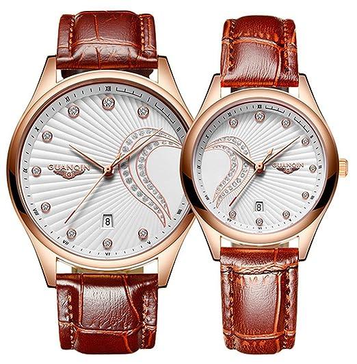 Relojes Pareja Relojes de Cuero Par Hombres Mujeres Impermeable Analógico Cuarzo Reloj Set para ella o su Set de Regalo: Amazon.es: Relojes