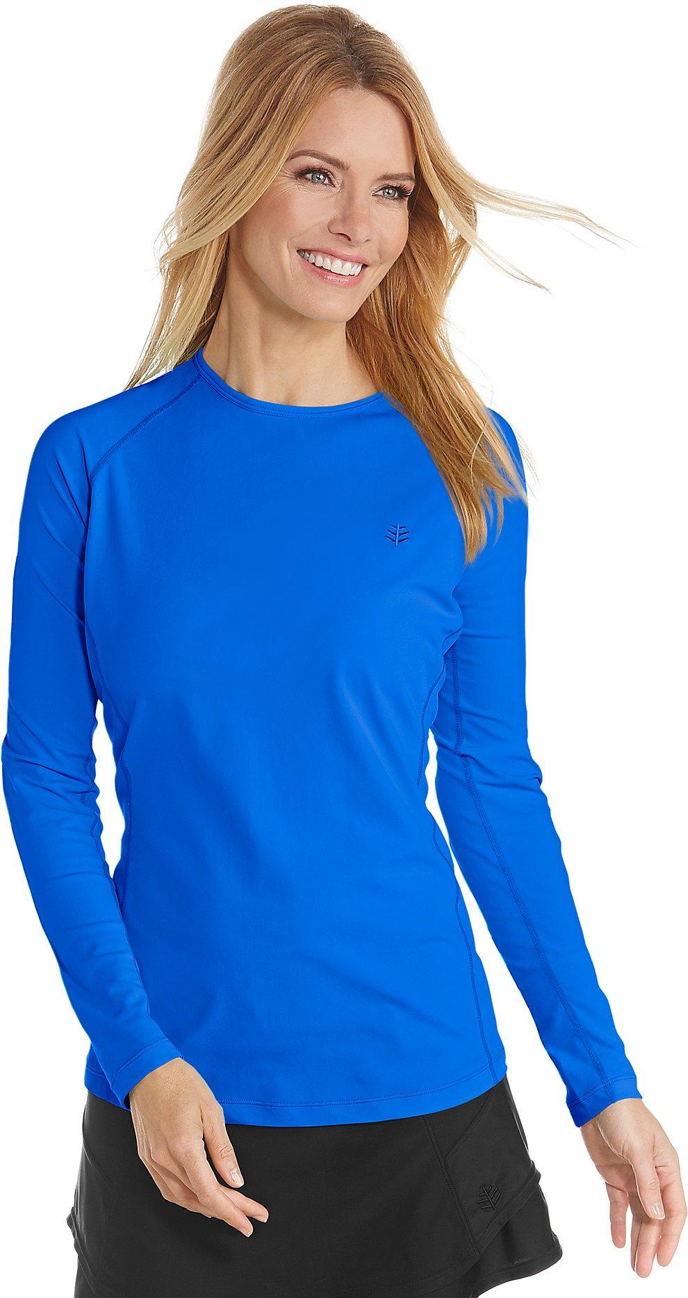 Coolibar UPF 50+ Women's Long Sleeve Hightide Swim Shirt - Sun Protective (Large- Baja Blue) by Coolibar