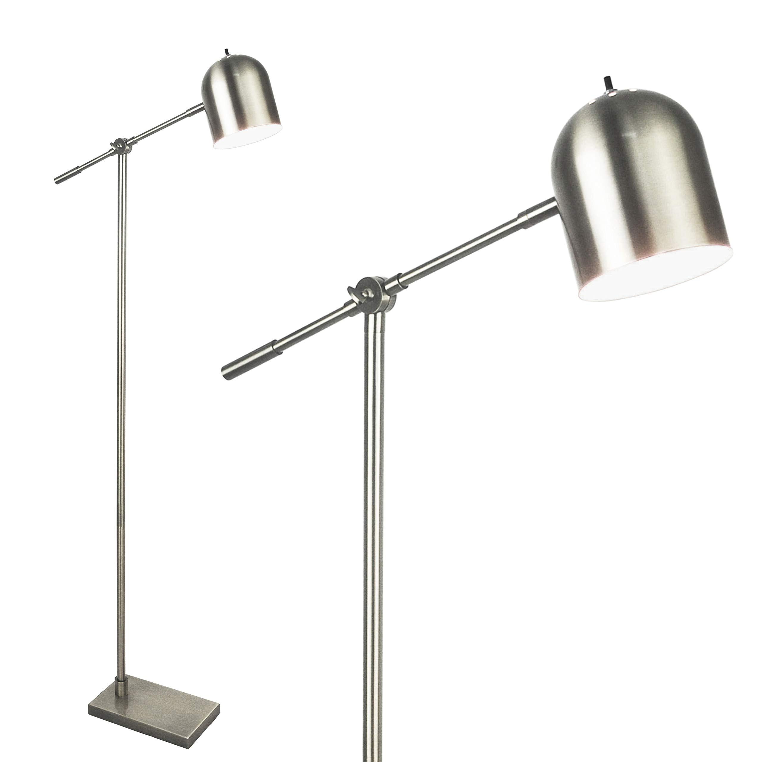 Light Accents Floor Lamp Adjustable Cantilever Modern Bright Standing Lamp Showroom Quality 59'' Tall Brushed Nickel Finish by LIGHTACCENTS