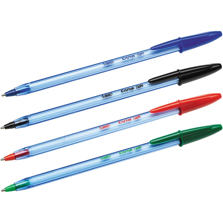 BIC Cristal Soft rojo y verde negro Estuche de 10 bol/ígrafos colores azul