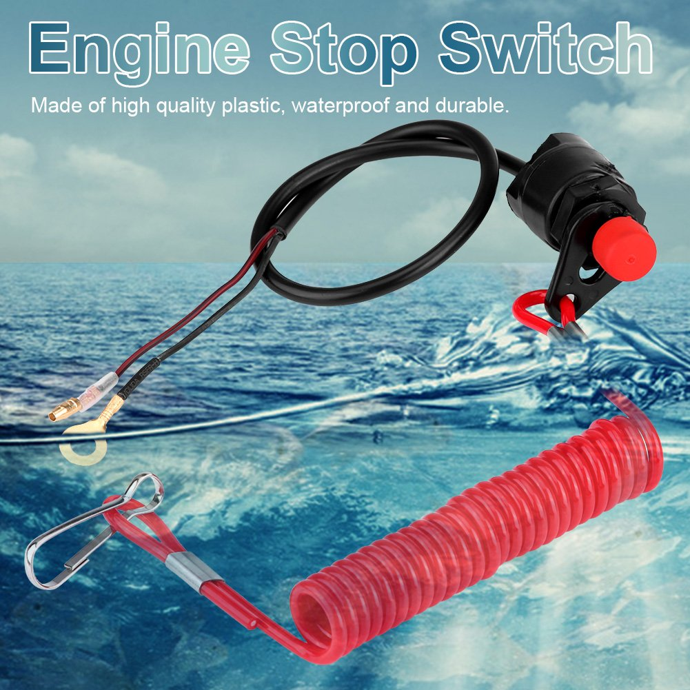 Engine Kill Switch,DRU 12v Emergency Engine Kill Stop Switch W//Tether Lanyard Cord for Motorcycle Outboard Lawn Mowers