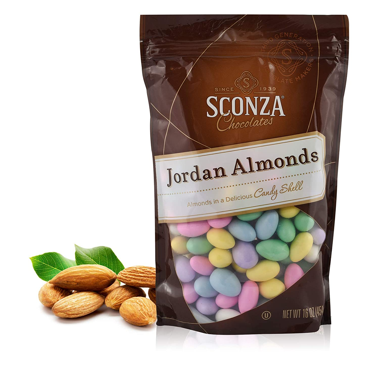 Sconza Candy Coated Jordan Almonds Assorted Pastel Candies 16oz Bag