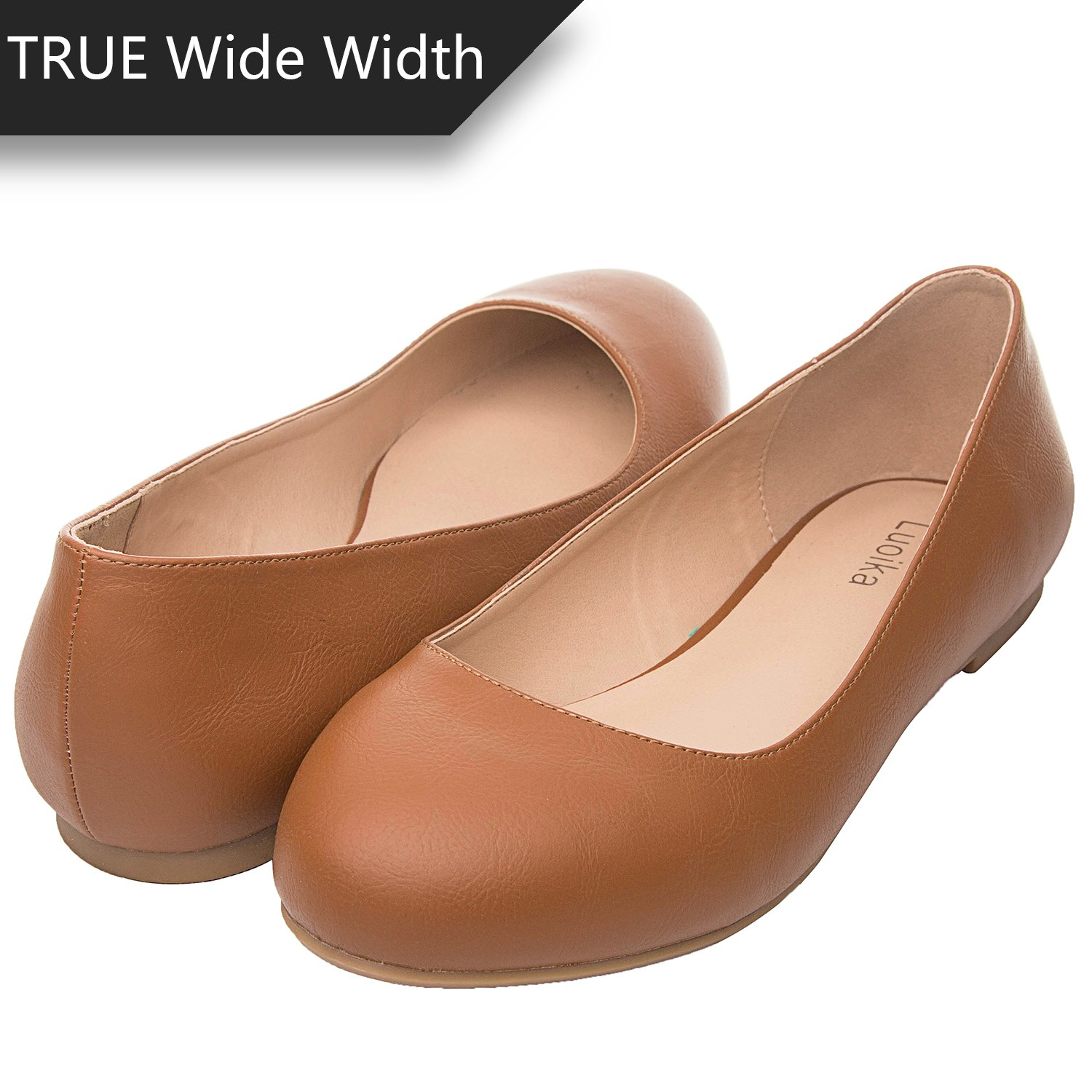 Luoika Women's Wide Width Flat Shoes - Comfortable Slip On Round Toe Ballet Flats. (180110 Brown PU,8WW)