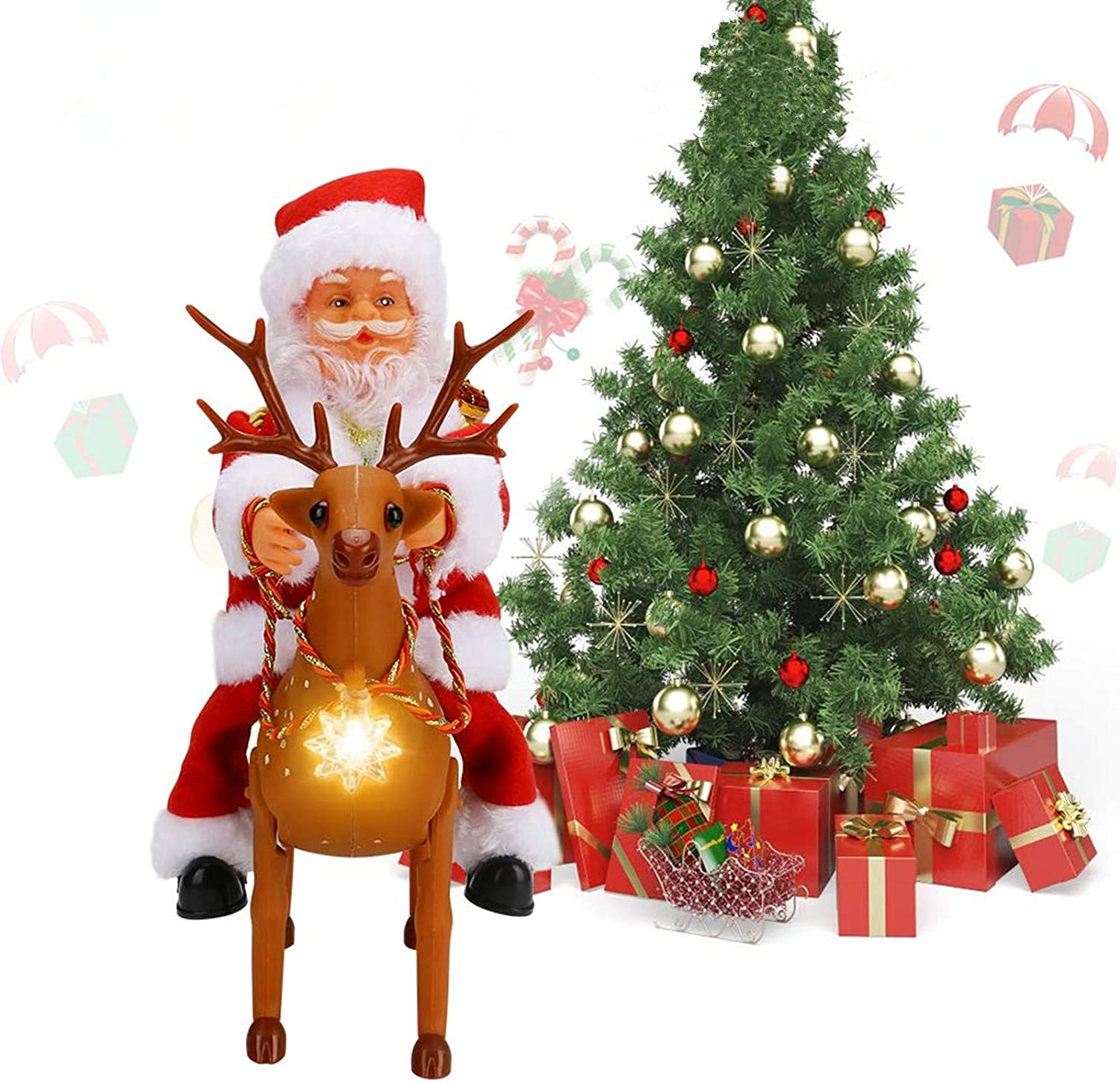 Globalstore Electric Christmas Santa Claus Riding Elk Reindeer Christmas Ornament, Table Fireplace Decor New Year Party Home Holiday Decoration, Best Creative Doll Musical Toy Gift for Kids & Adults