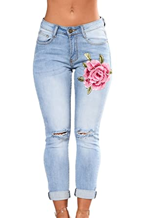 8f6548df705 GOSOPIN Women Rose Embroidered Destroyed Distressed Denim Jeans Small Wathet