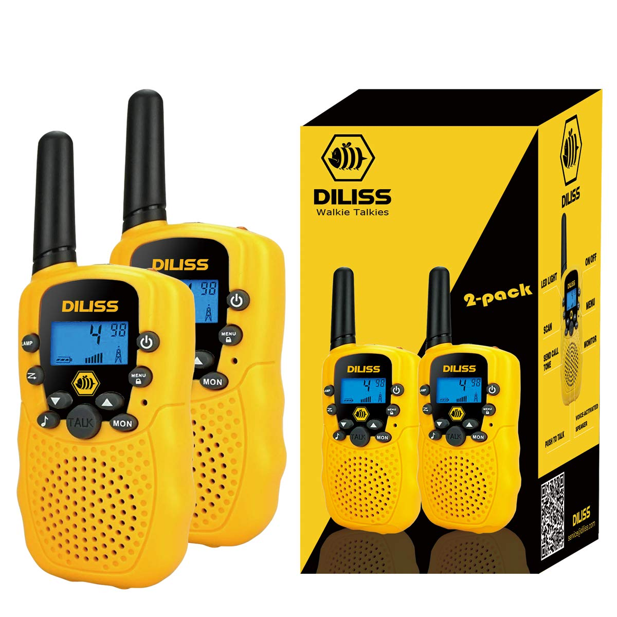 DilissToys Walkie Talkies for Kids Voice Activated Walkie Talkies for Adults and Kids 3 Mile Range 2 Way Radio Walkie Talkies Built in Flash Light 2 Pack Yellow