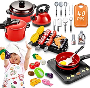 pereberi 40 PCS Kids Kitchen Pretend Play Toys Cooking Set with Cookware Pots and Pans Set BBQ Grill Cutting Play Food Toys Cooking Utensils Accessories for Girls Boy Baby Kids Toddlers