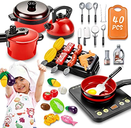 Amazon Com Pereberi 40pcs Kids Kitchen Pretend Play Toys Cooking Set With Pots And Pans Bbq Grill Cutting Food Vegetables Accessories For Girls Boys Baby Toddlers