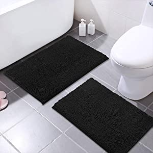 MAYSHINE 2 Pieces 20x31 Inches Non-Slip Bathroom Rug Shag Shower Mat Machine-Washable Bath Mats with Water Absorbent Soft Microfibers of - Black