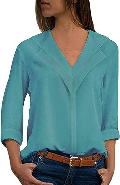 Camisas Mujer Blusa Camisetas Manga Larga Sexy Tops Color Sólido Cuello en V Low Cut Sexy Camisetas y Tops Pullover: Amazon.es: Ropa y accesorios