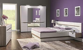 Schlafzimmer Komplett LINN Weiß Hochglanz Set B Schrank Tür Soft - Schlafzimmer komplett weiß hochglanz