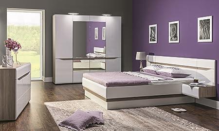 Schlafzimmer komplett LINN weiß hochglanz Set B Schrank 4-tür Soft ...