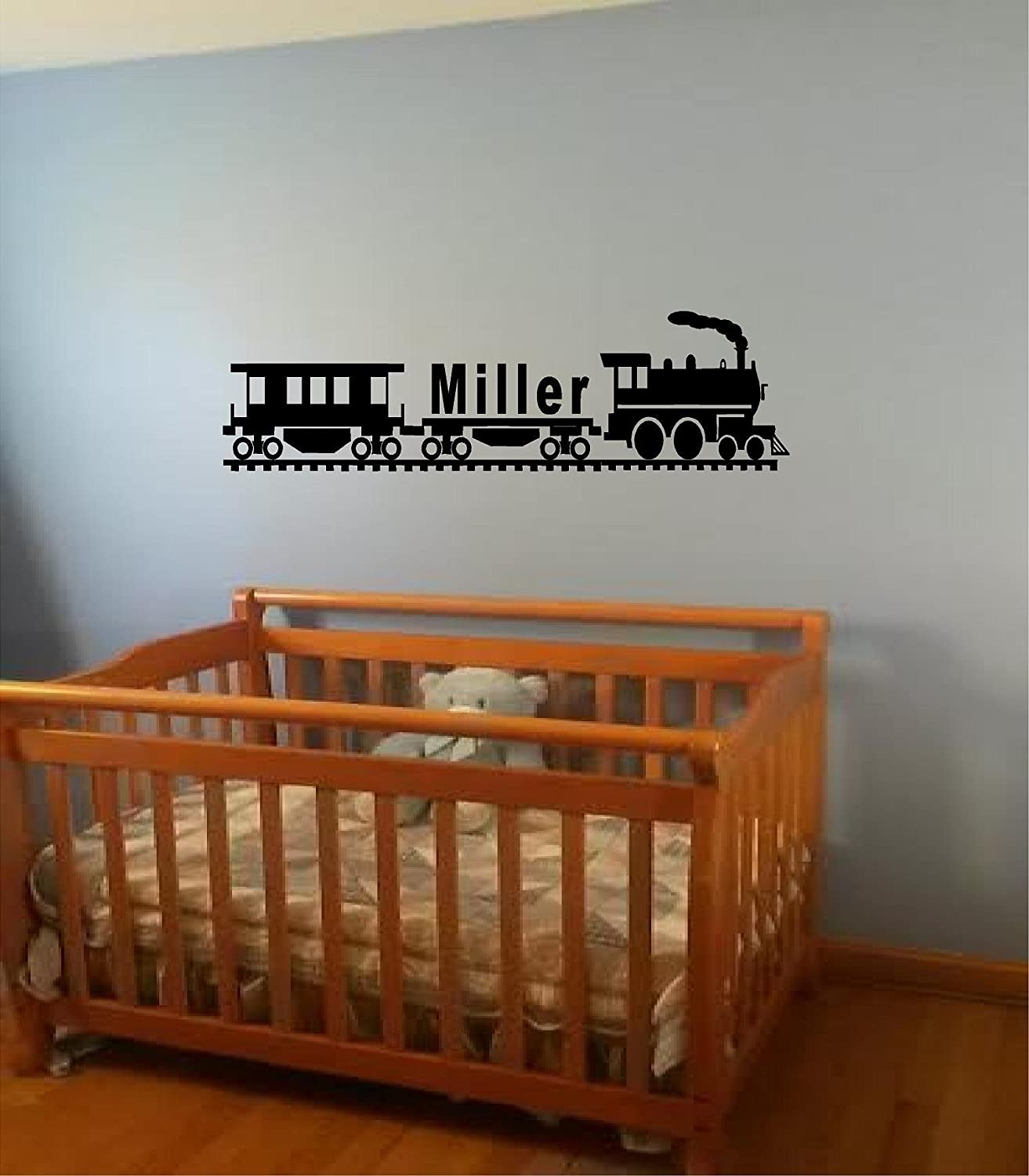 Personalized Custom Name Railroad train wall art decal Children baby room decal