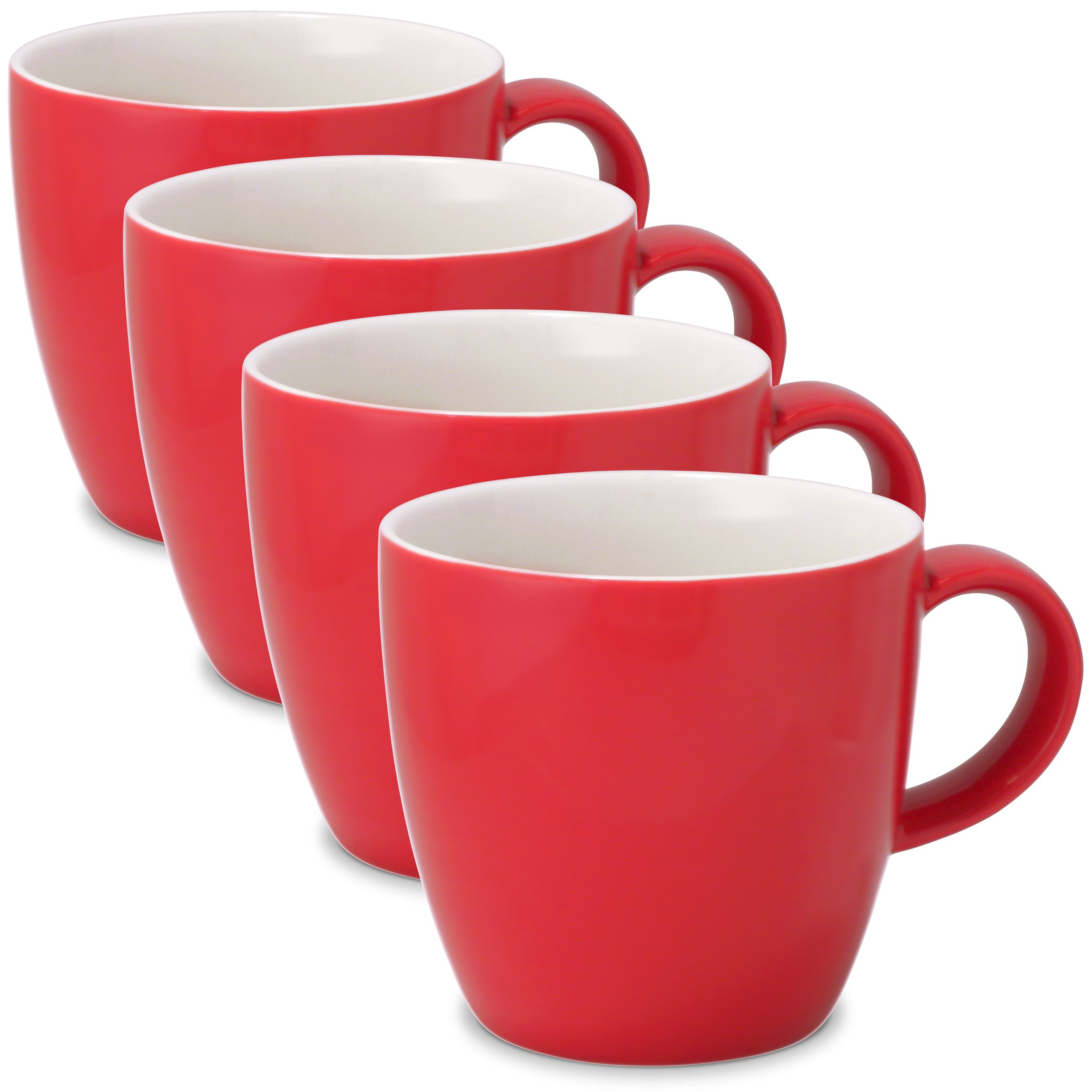 FORLIFE Uni Tea/Coffee Cup with Handle (Set of 4), 11 oz, Red