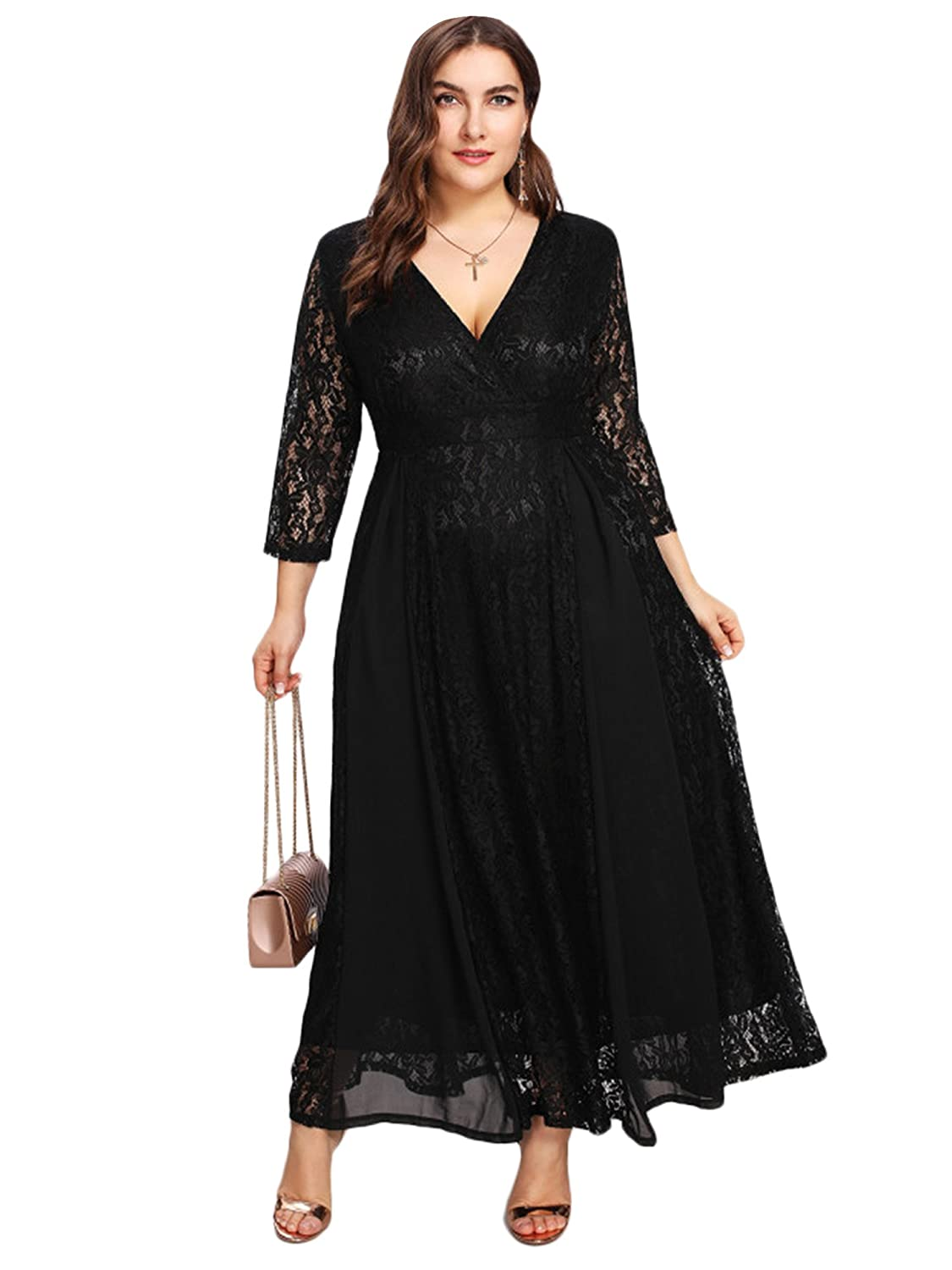 ESPRLIA Women\'s Plus Size High Waist Lace Overlay Maxi Evening Dresses