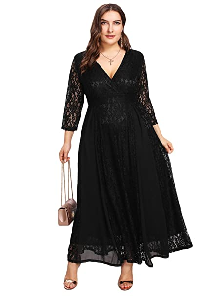 Women's Plus Size High Waist Lace Overlay Evening Maxi Dress