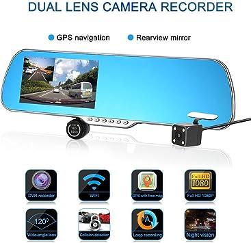 Rétroviseur Avec Double Caméra Camera Dash Cam Et Camera De Recul Avec Gps Européen Navigation écran Tactile Avec Une Vision Nocturne Amazon Fr High Tech