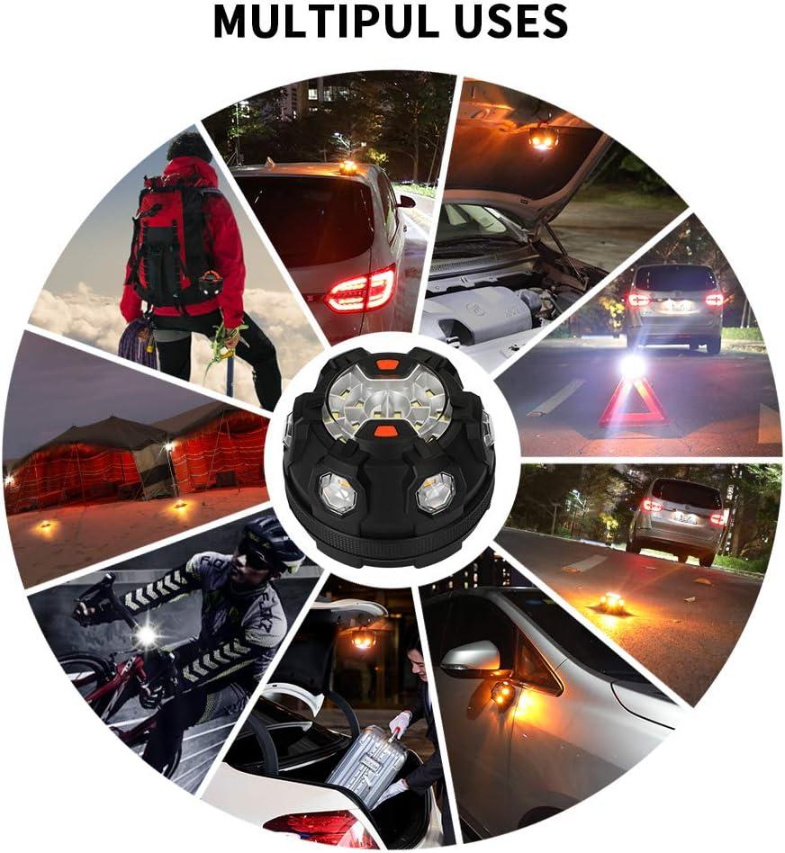 POWERGIANT Car Emergency Light LED Roadside Safety Flashing Warning Light with Magnetic Base and Hook Breakdown Kit for Car Motorcycle Bike Truck Boat