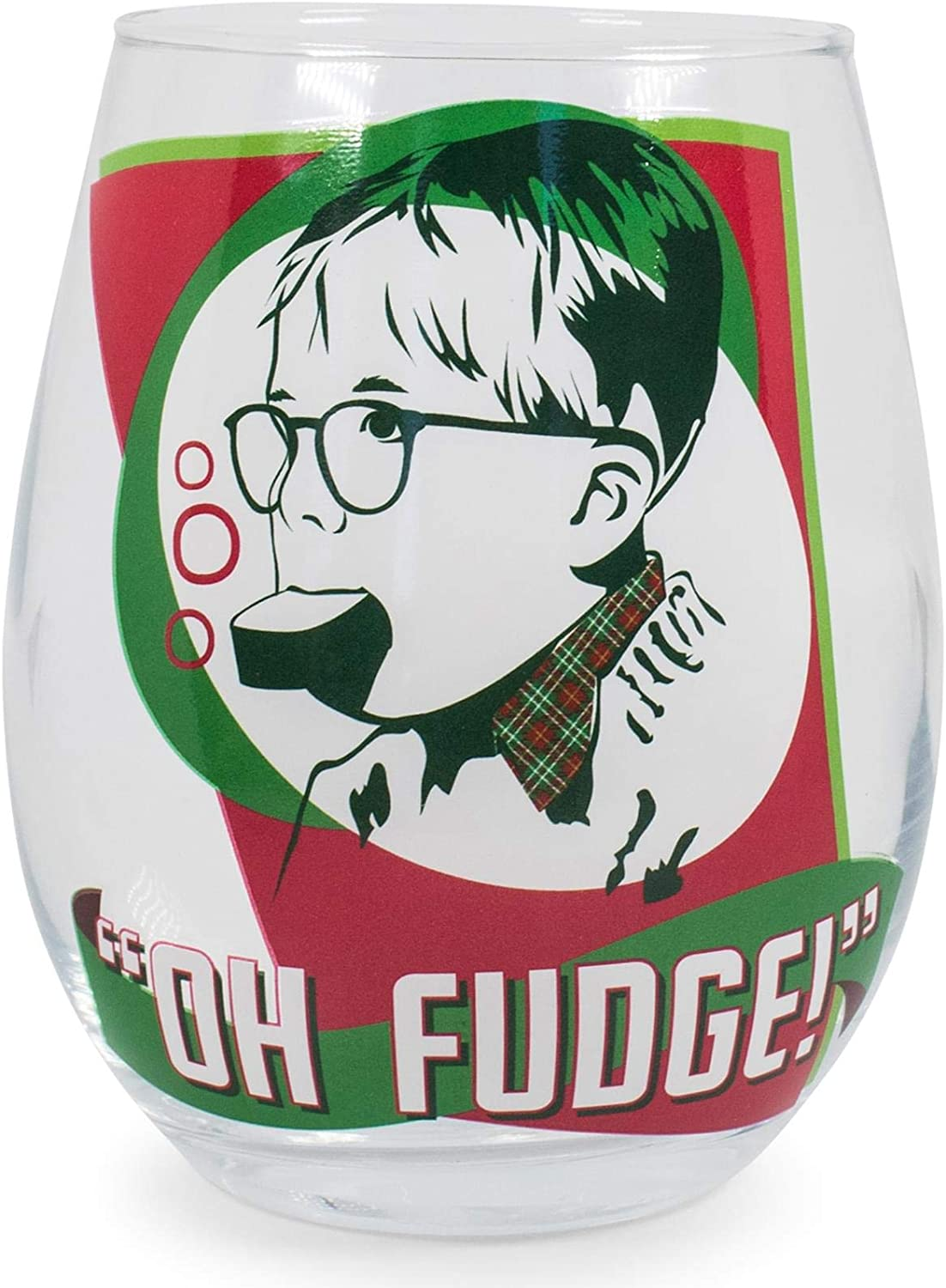Silver Buffalo A Christmas Story Oh Fudge! Stemless Wine Glass   Funny Oversized Cup for Barware Set   Festive Drinkware for Tea, Coffee, Cocktails, Hot and Cold Beverages   Holds 20 Ounces