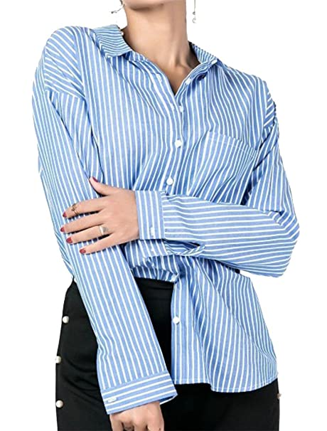 8f8aa88e87 Lutratocro Womens Leisure Striped Long Sleeve Tie-Back Irregular Loose  Button Front Shirts at Amazon Women's Clothing store: