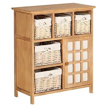 Hartleys Brown Farmhouse Storage Unit With Wicker Baskets Amazonco