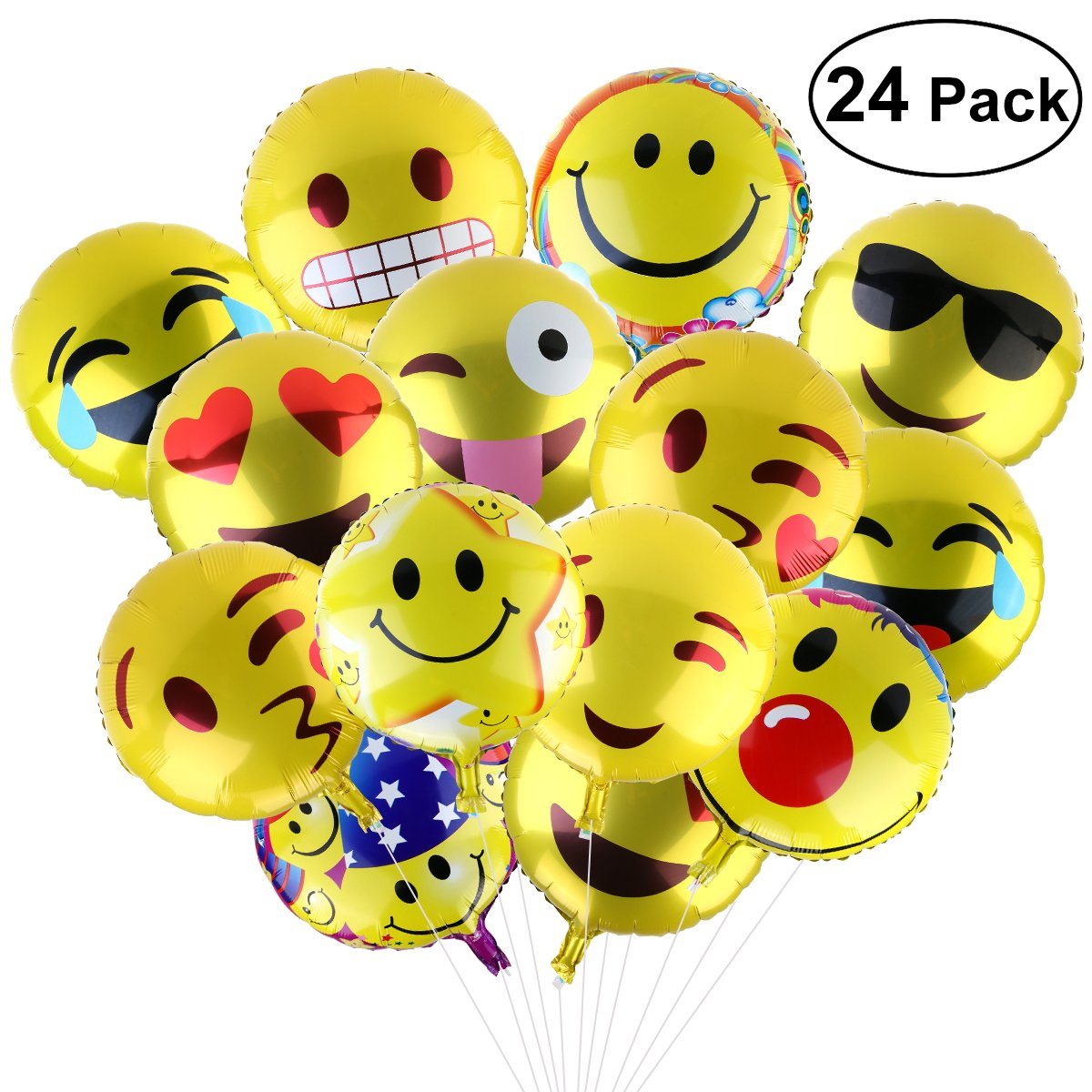 BESTOMZ Party Balloons 18 Reusable 11 Facial Expression For Birthday Or