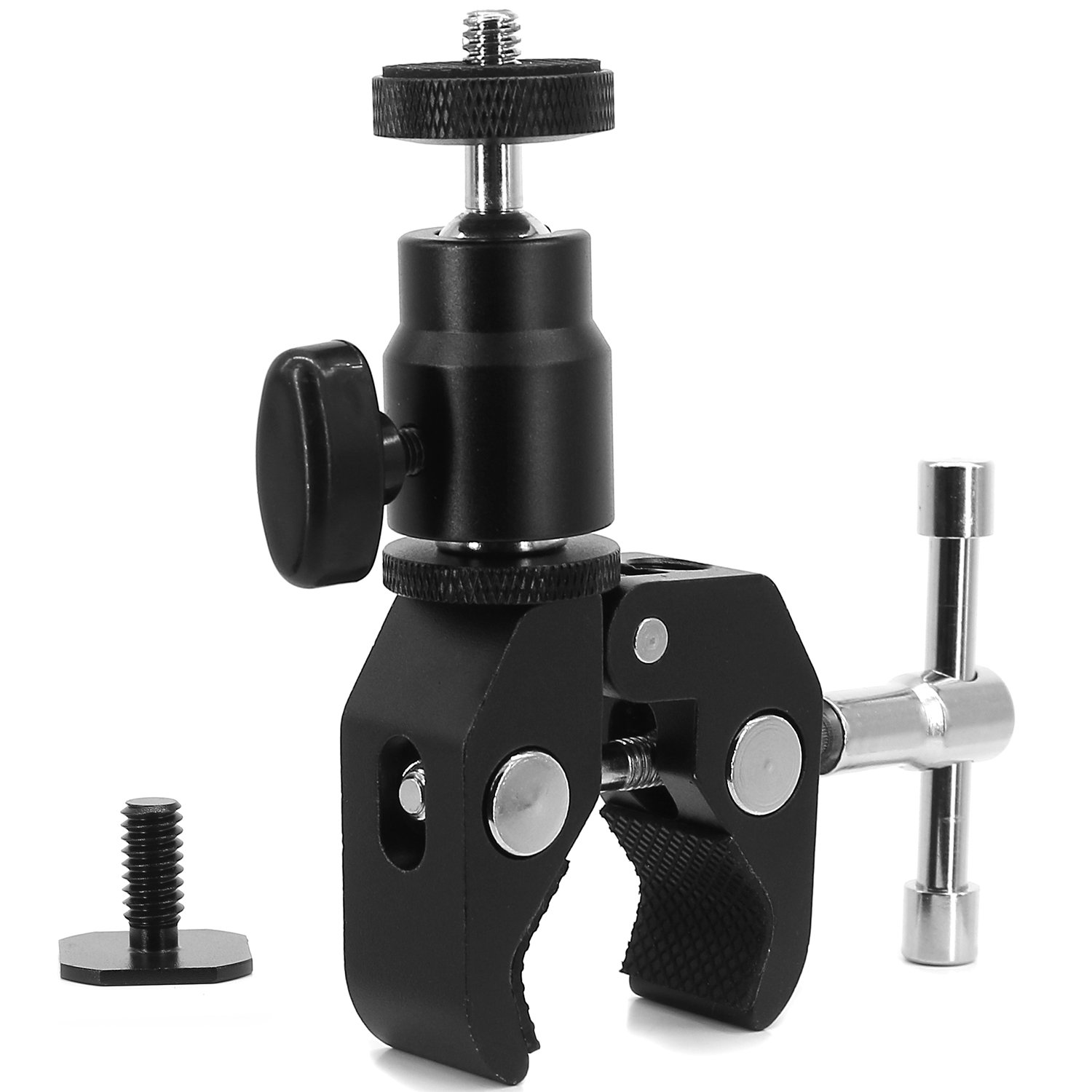 Ball Head Shoe Mount Camera Ball Mount Clamp w/1/4''-20 Tripod head Hot Shoe Adapter and Cool Super Clamp