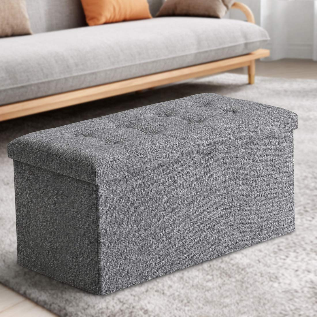 ASLIFE Multifunctional and Folding Storage Ottoman Top Linen Fabric Footrest Coffee Table, Toy Box Chest for Bedroom and Living Room LIGHT GREY,30 x 15 x15