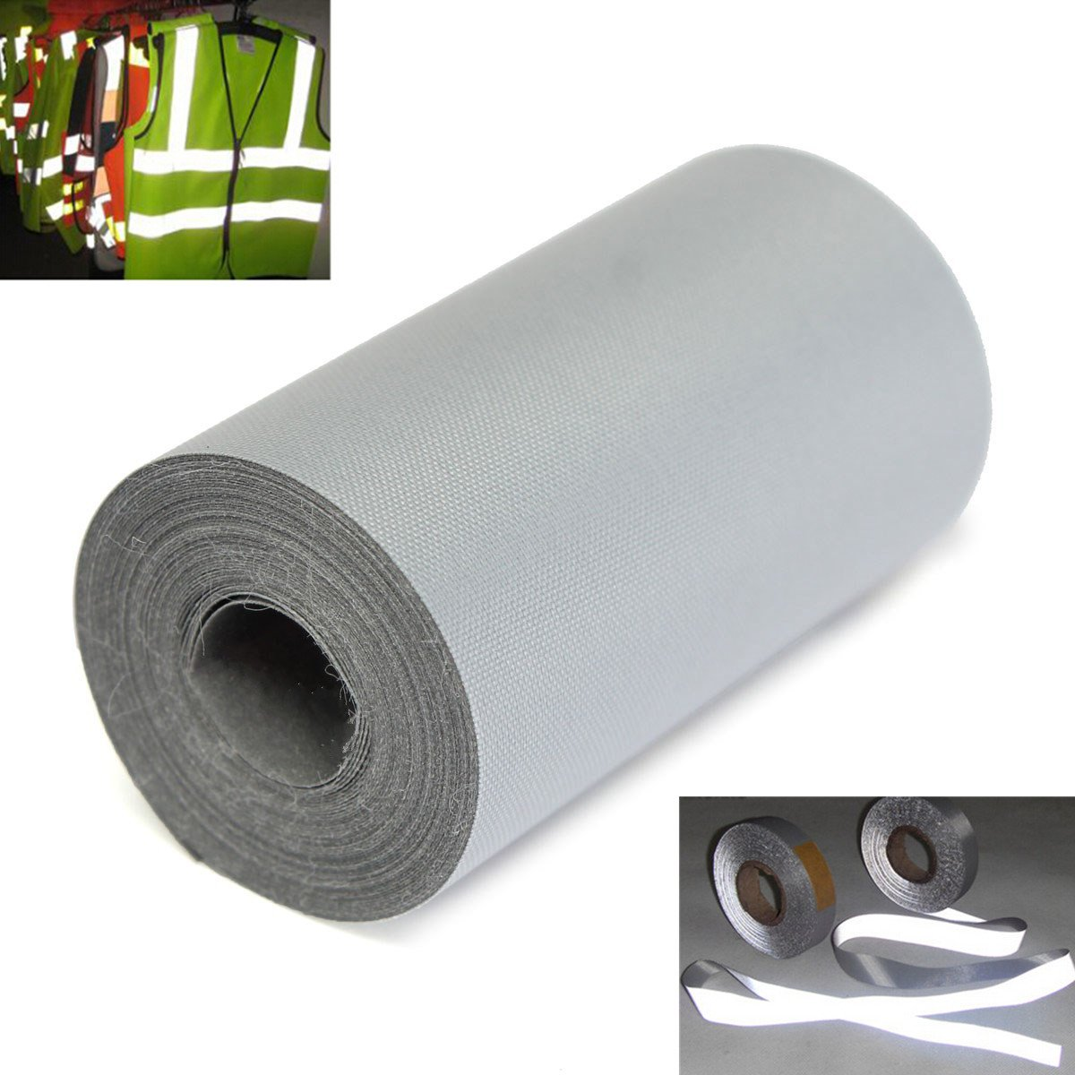 MONNY 300 x 5cm Car Reflective Silver Tape - sew On 2 Inch Trim Fabric Foot Safety Warning Conspicuity Tape Film