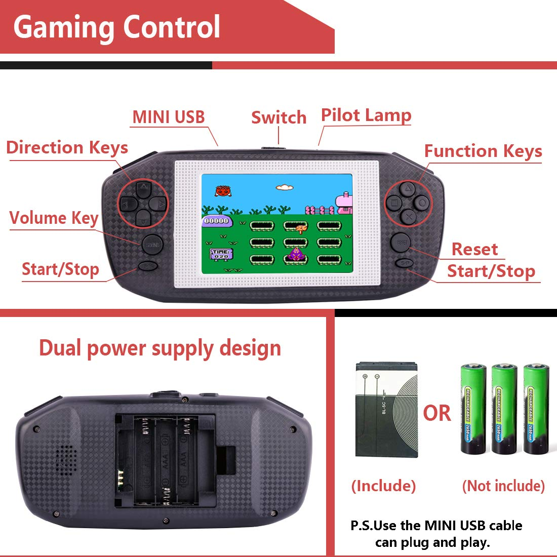 Beico Handheld Games for Kids Adults 3.5'' Large Screen Built in 416 Classic Retro Video Games Seniors Electronic Games Consoles Birthday Present (Black) by Beico (Image #3)