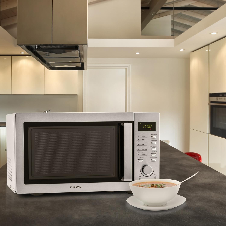 Klarstein Steelwave Microondas con grill (23 litros, 800W de potencia del microondas, 1000W de potencia de grill, acero inoxidable, descongelación)