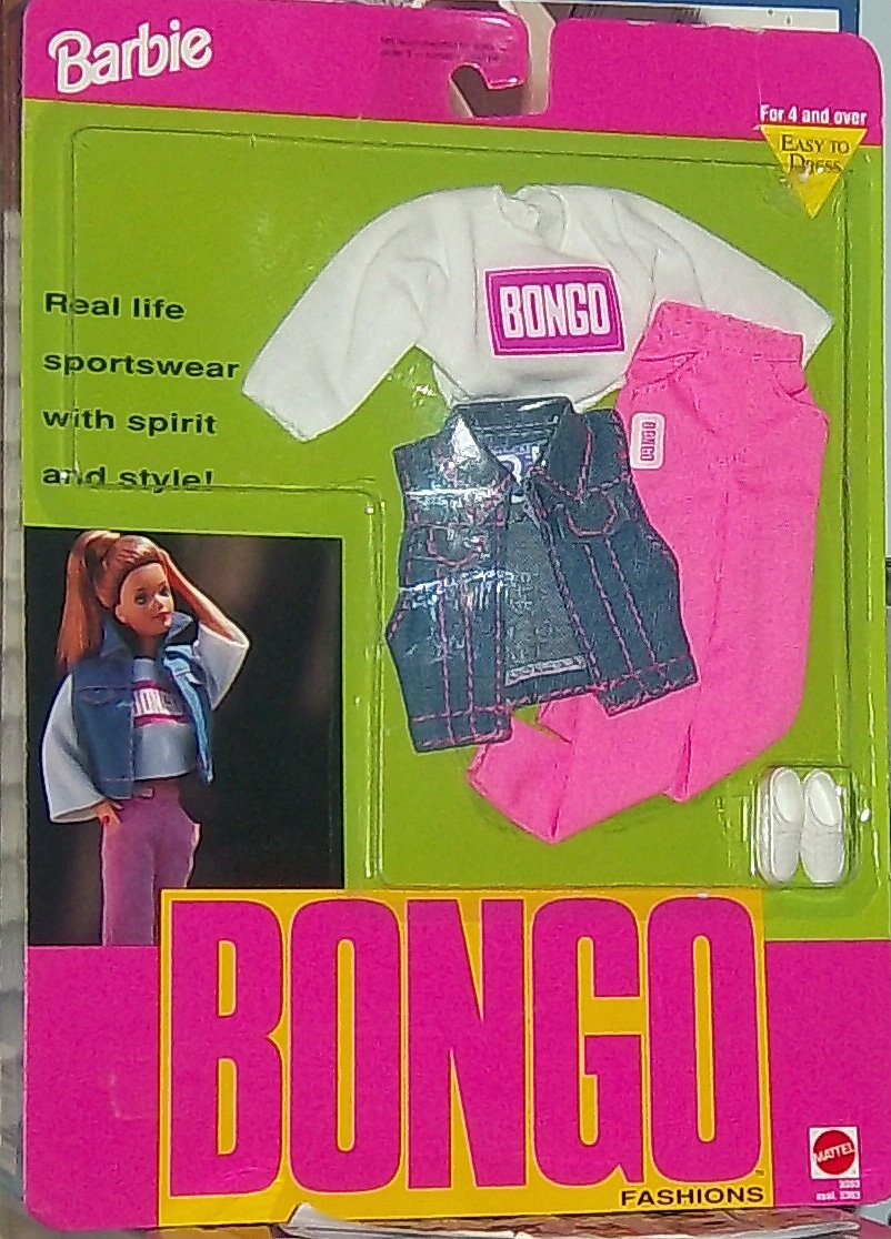 1992 Barbie Bongo Fashions Mattel 3353 Jean Jacket Vest and Sneakers Bongo Logo Shirt Pants
