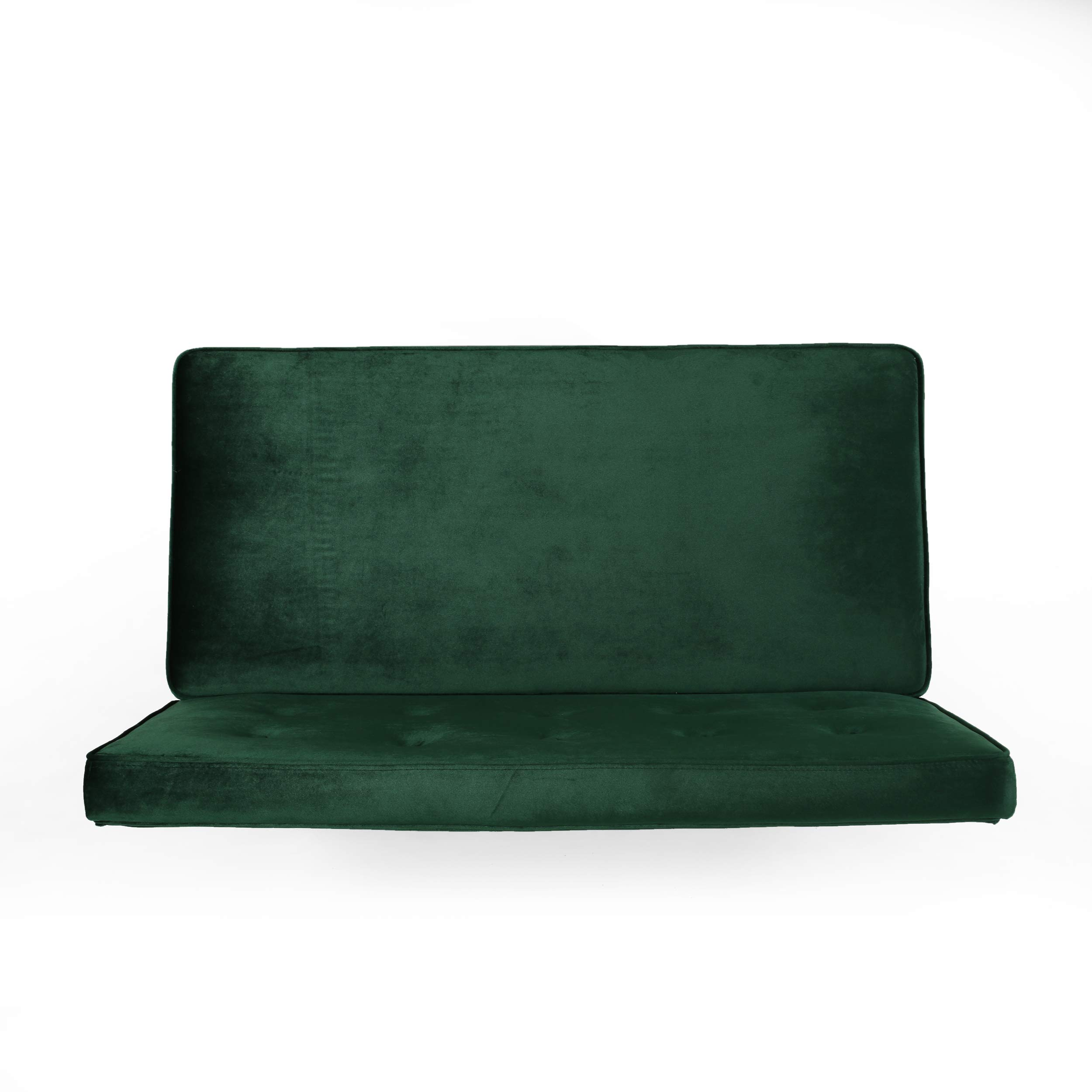Beatrice Minimalist Dining Bench Settee with Tufted Velvet Cushion and Iron Legs - Emerald and Black by Great Deal Furniture (Image #6)