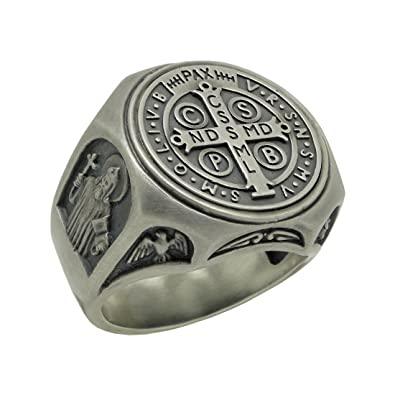769676bbf375 Anillo de plata de ley 925 símbolo de San Benito