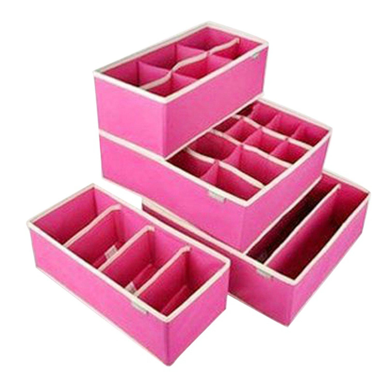 Chiffoned 4PCS Storage Boxes For Ties Socks Shorts Bra Underwear Divider Drawer Lidded Closet Organizer Ropa Interior Organizador,Rose Red Set 4 Pcs