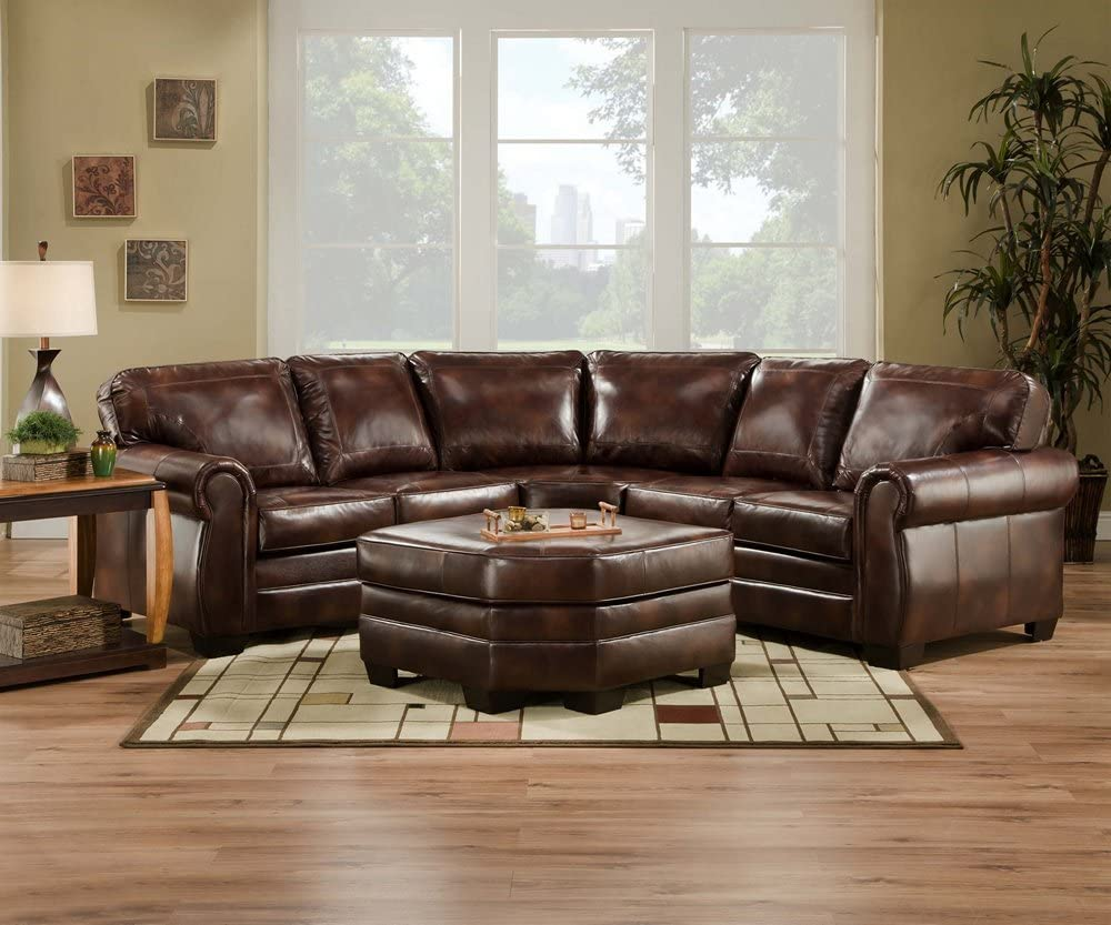 Amazon Com Simmons 9222d Encore Brown Leather Sectional Sofa