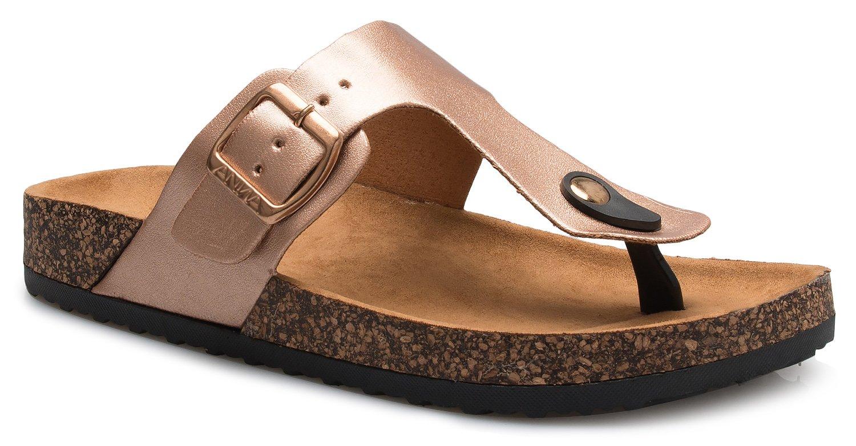 OLIVIA K Women's Casual Buckle T Strap Thong Strap Sandals Flip Flop Platform Footbed