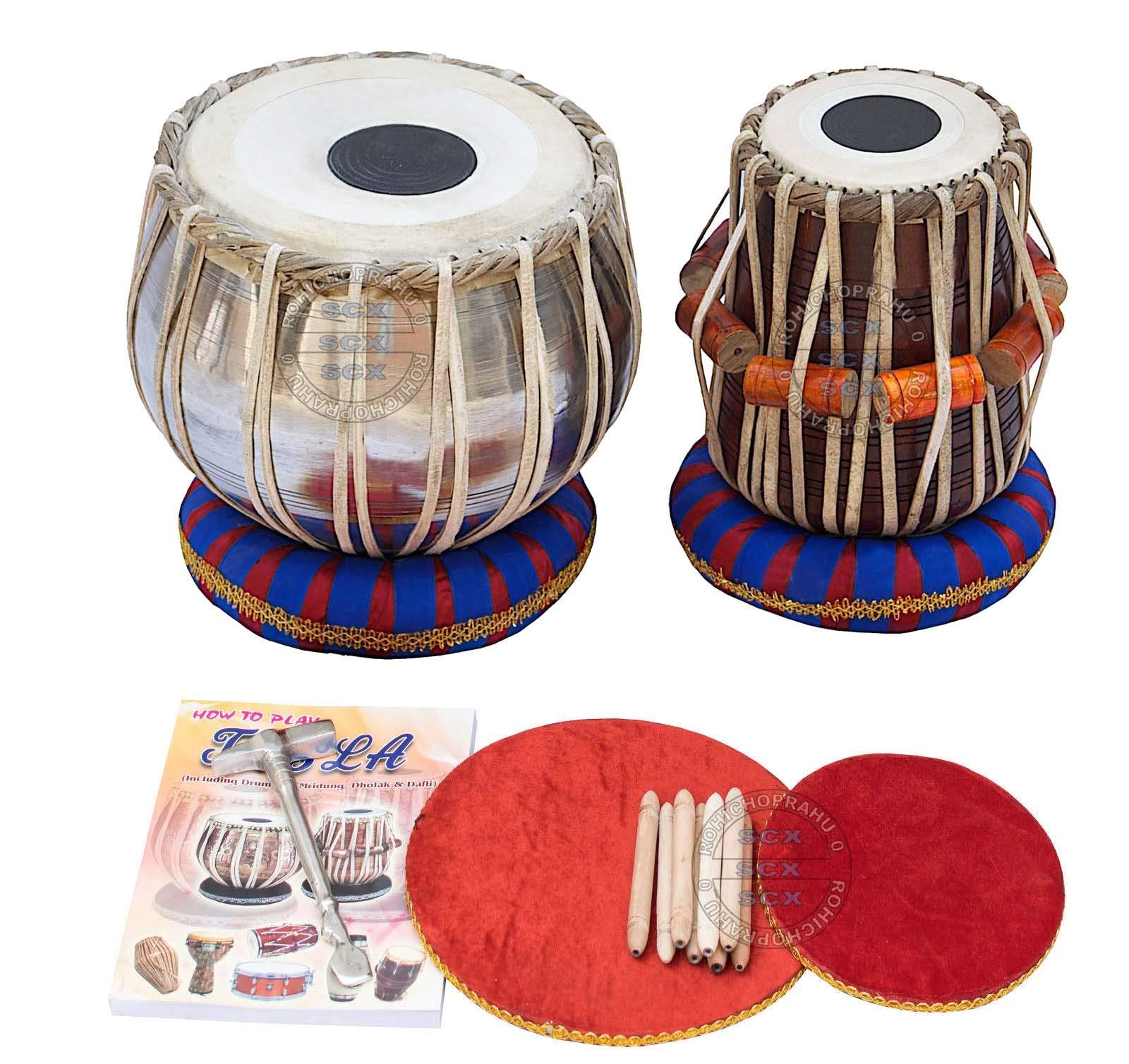 Tabla Set, Shreyas Designer Silver Bayan, Sheesham Tabla Dayan, Professional Drums, Padded Bag, Book, Hammer, Cushions, Cover, Tabla Drums Indian by SHREYAS