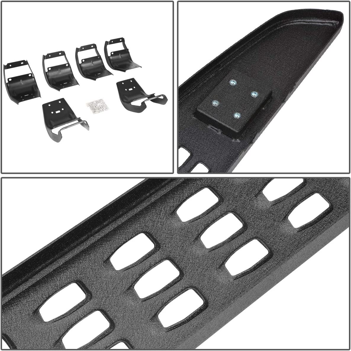 DNA MOTORING STEPB-ZTL-8142 7 Powdercoated Raptor Style Side Step Bar Running Board fit 15-19 Ford F-150 Crew Cab,Matte Black