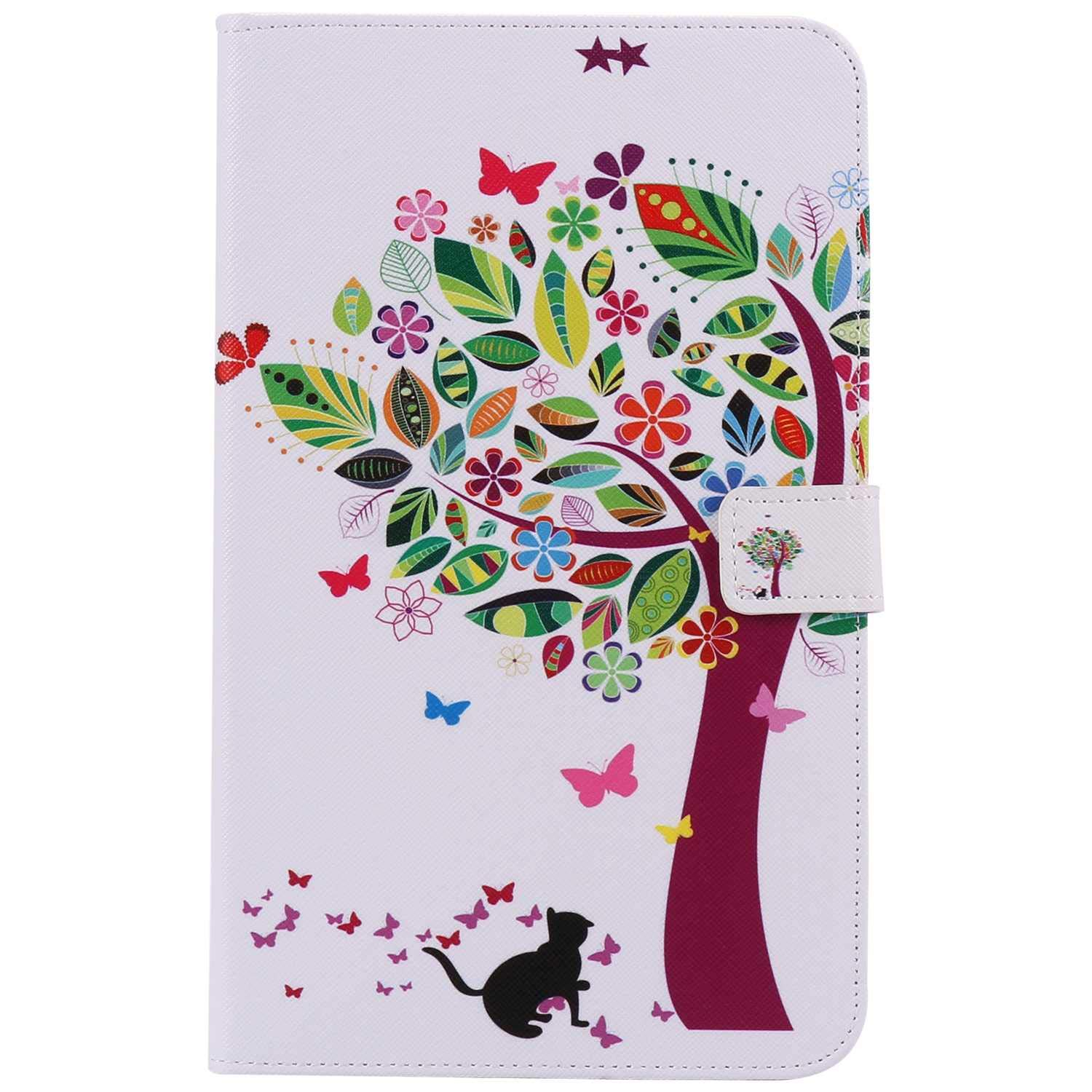 Bear Village Galaxy Tab 4 8.0 Inch Case, Anti Scratch Shell with Adjust Stand, Colorful Design Leather Stand Case for Samsung Galaxy Tab 4 8.0 Inch, Tree Cat by Bear Village
