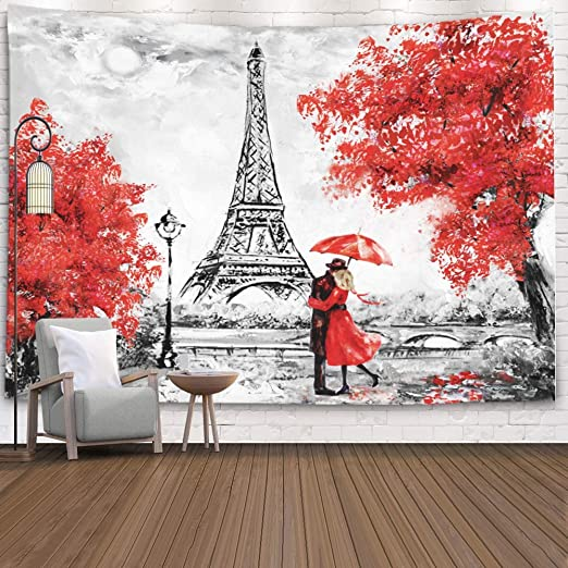 Amazon Com Crannel Oil Painting Paris City Landscape France Eiffel Tower Black White Red Modern Art Couple Wallpaper Under Umbrella Street Wall Art Tapestry Blanket 60x60 Inches For Bedroom Home Dorm Home