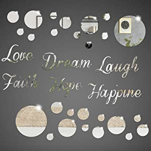 Acrylic Mirror Wall Decor Stickers Removable Circle Mirror Wall Decal DIY Love Laugh Faith Hope Dream Happine 3D Mirror Wall Decor for Home Living Room Bedroom Decoration, Sliver