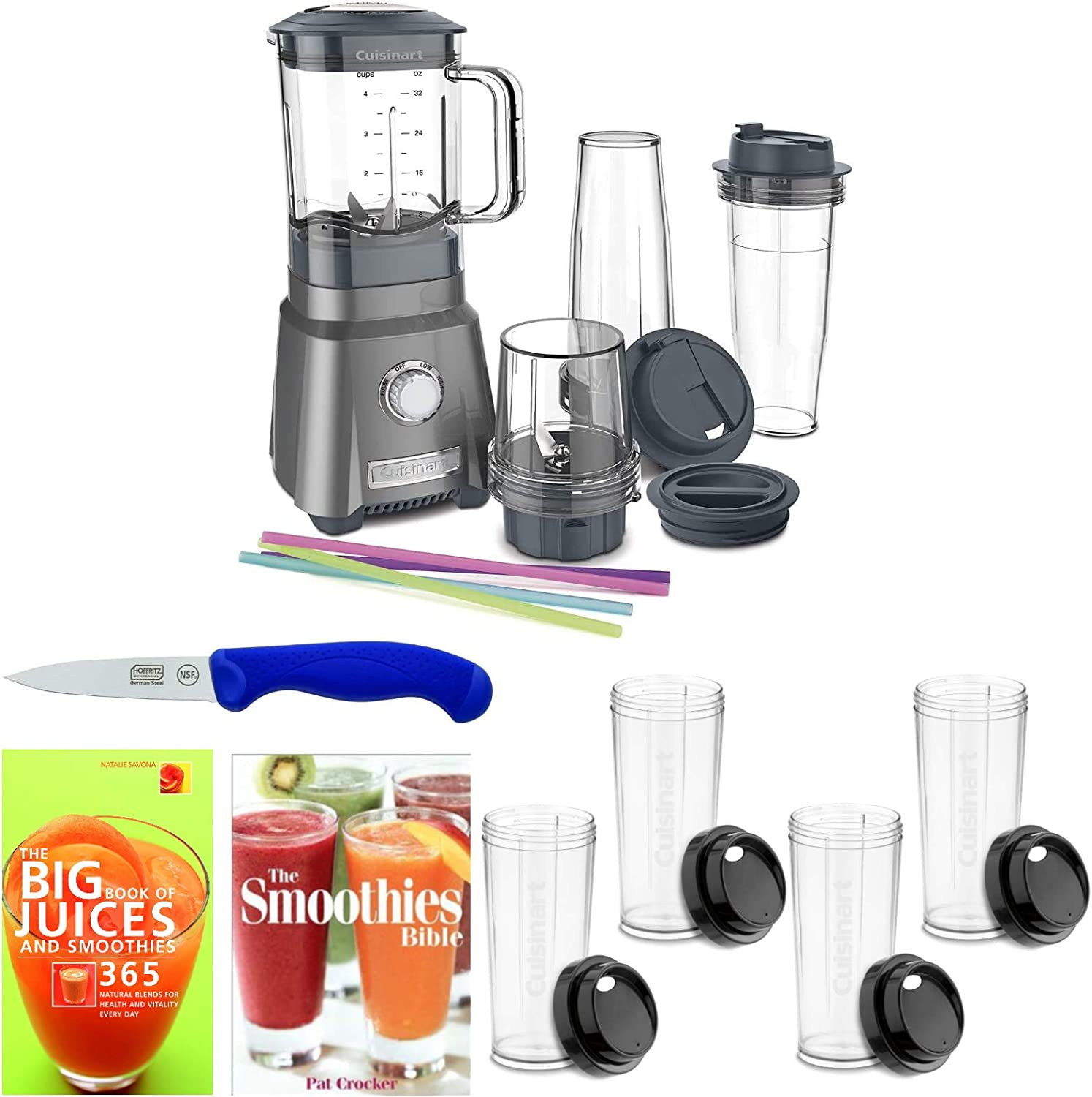 Cuisinart CPB-380 Power Compact Blender with 4 Extra Cups, 2 Recipe Books, and 3.5-Inch Paring Knife Bundle (5 Items)