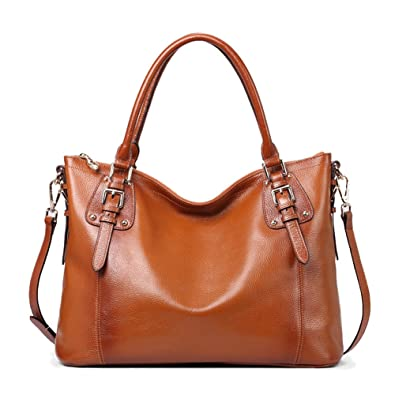 3e01a4fa3 CLELO Women's Vintage Soft Leather Tote Shoulder Bag Top Handle Bag for  Ladies Large Capacity (