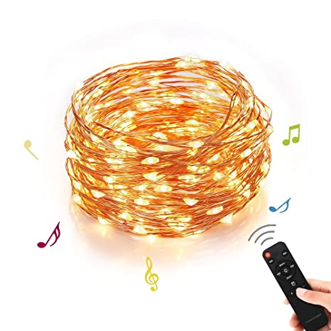 Amazon homestarry outdoor string lights music dimmable led homestarry outdoor string lightsmusic dimmable led string lights with remoteindoor decorative cooper aloadofball Choice Image