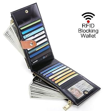 Monederos Mujer Cera de Lujo Carteras Piel Genuina Hecho Gran Capacidad RFID Bloqueo, Moda Mujer