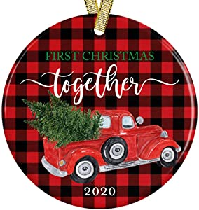 """Our First Christmas Together New Couple 2020 Buffalo Red Black Plaid Red Pickup Truck Rustic Wood Look Modern Farmhouse 3"""" Ceramic Round Ornament with Metallic Gold Ribbon + Free Gift Box"""