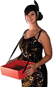 "Beistle Cigarette Girl Party Tray, 4"" x 11"" x 13"", Red/Black"