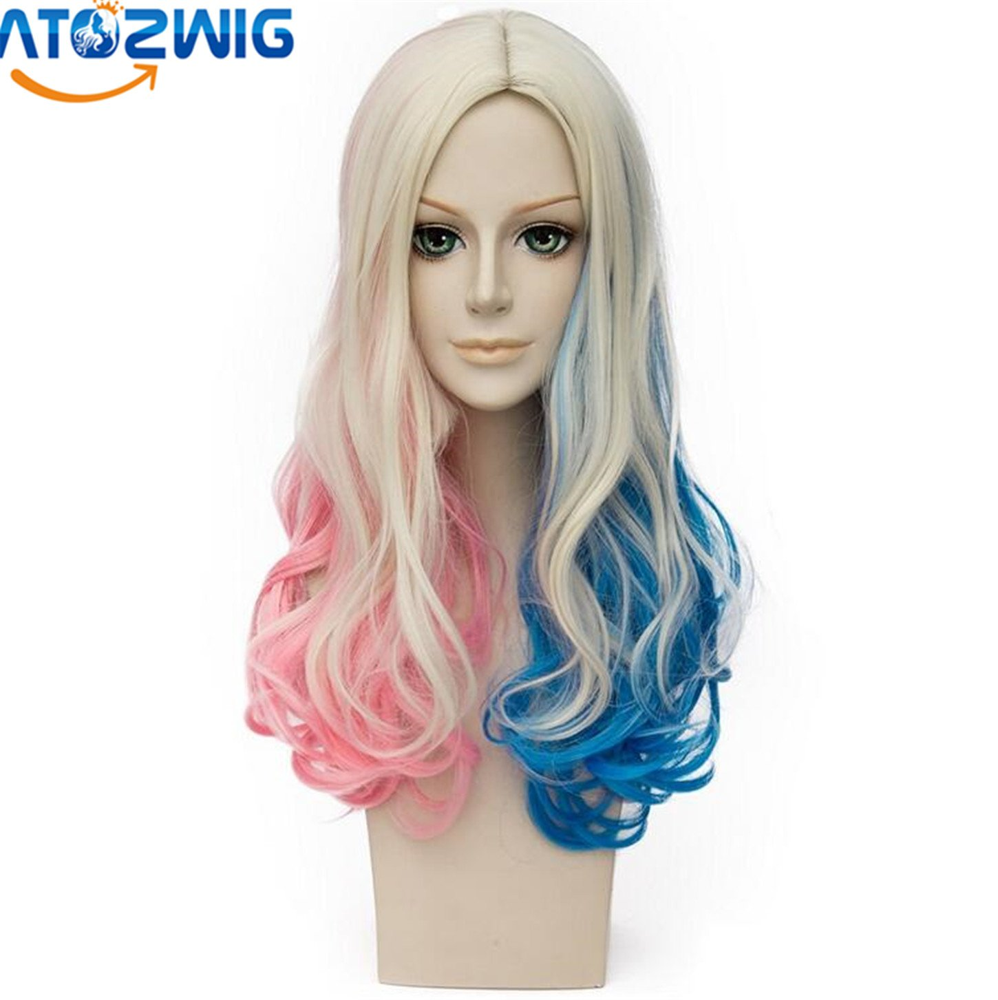 Amazon.com: ATOZWIG Ombre Pink Blue Blonde Long Wavy Cosplay Costume Wig+Wig Cap: Beauty